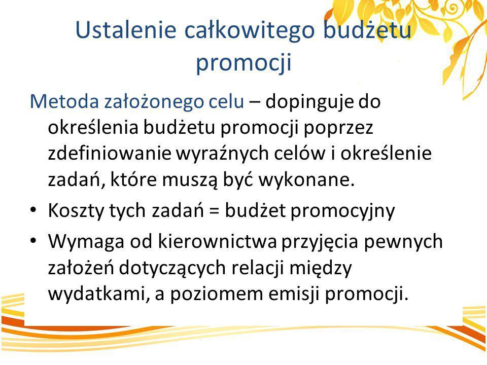 Ustalenie całkowitego budżetu promocji Metoda założonego celu – dopinguje do określenia budżetu promocji poprzez zdefiniowanie wyraźnych celów i okreś