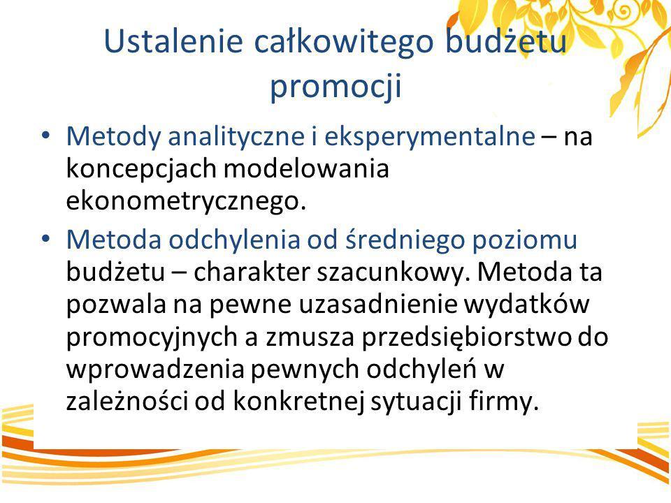 Ustalenie całkowitego budżetu promocji Metody analityczne i eksperymentalne – na koncepcjach modelowania ekonometrycznego. Metoda odchylenia od średni