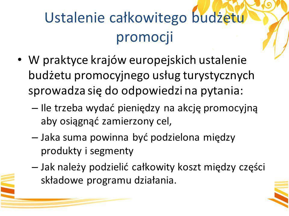 Ustalenie całkowitego budżetu promocji W praktyce krajów europejskich ustalenie budżetu promocyjnego usług turystycznych sprowadza się do odpowiedzi n