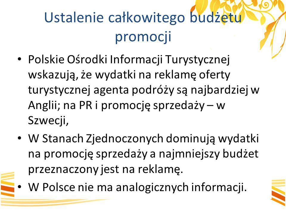 Ustalenie całkowitego budżetu promocji Polskie Ośrodki Informacji Turystycznej wskazują, że wydatki na reklamę oferty turystycznej agenta podróży są n