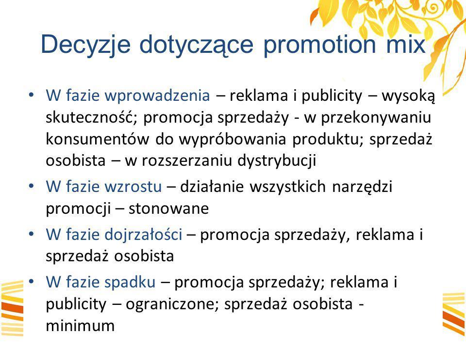 Decyzje dotyczące promotion mix W fazie wprowadzenia – reklama i publicity – wysoką skuteczność; promocja sprzedaży - w przekonywaniu konsumentów do w