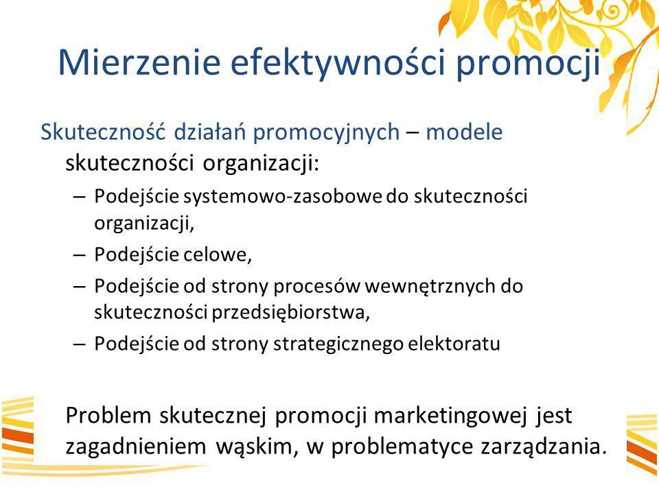 Mierzenie efektywności promocji Skuteczność działań promocyjnych – modele skuteczności organizacji: – Podejście systemowo-zasobowe do skuteczności org