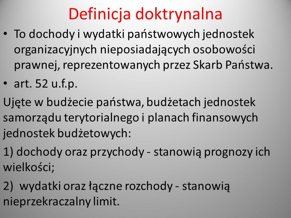Definicja doktrynalna To dochody i wydatki państwowych jednostek organizacyjnych nieposiadających osobowości prawnej, reprezentowanych przez Skarb Pań