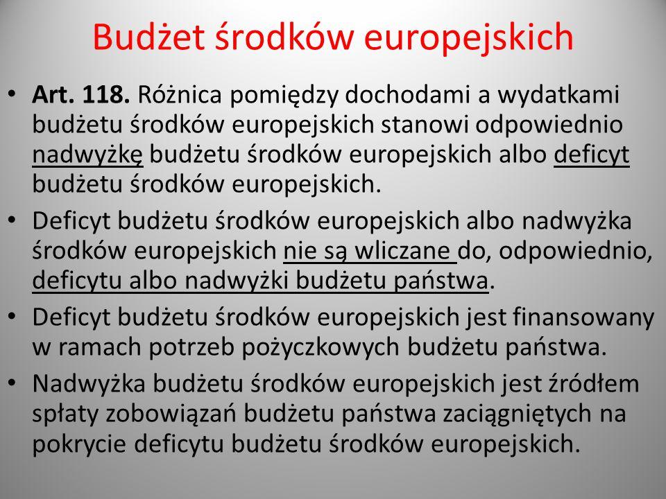 Budżet środków europejskich Art. 118. Różnica pomiędzy dochodami a wydatkami budżetu środków europejskich stanowi odpowiednio nadwyżkę budżetu środków