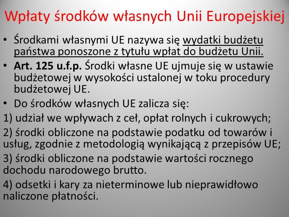 Wpłaty środków własnych Unii Europejskiej Środkami własnymi UE nazywa się wydatki budżetu państwa ponoszone z tytułu wpłat do budżetu Unii. Art. 125 u