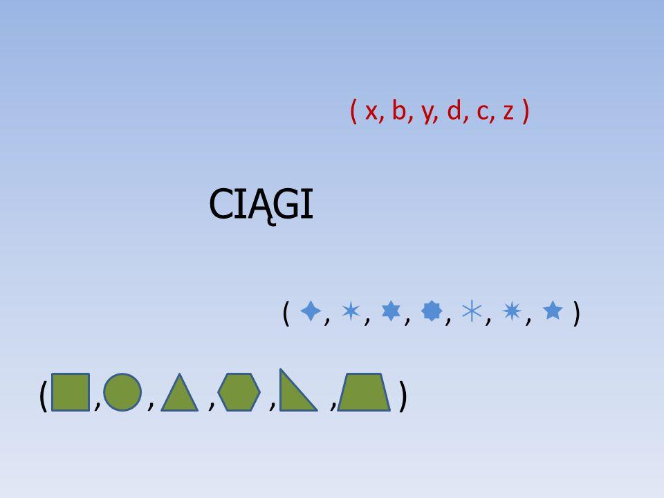 CIĄGI (,,,,, ) ( x, b, y, d, c, z ) ( , , , , , ,  )