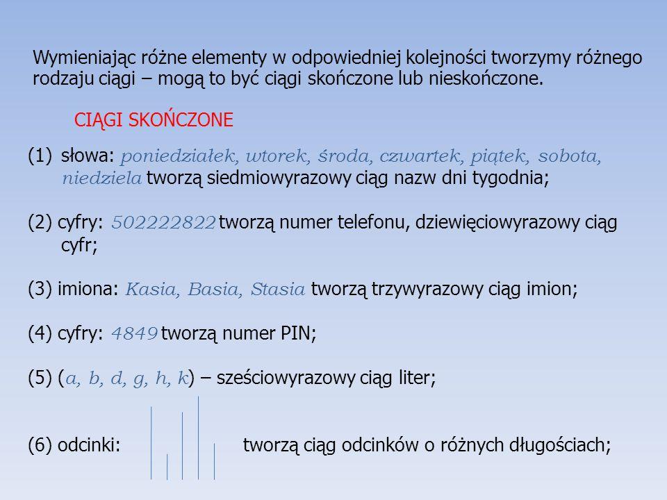 Wymieniając różne elementy w odpowiedniej kolejności tworzymy różnego rodzaju ciągi – mogą to być ciągi skończone lub nieskończone. (1)słowa: poniedzi