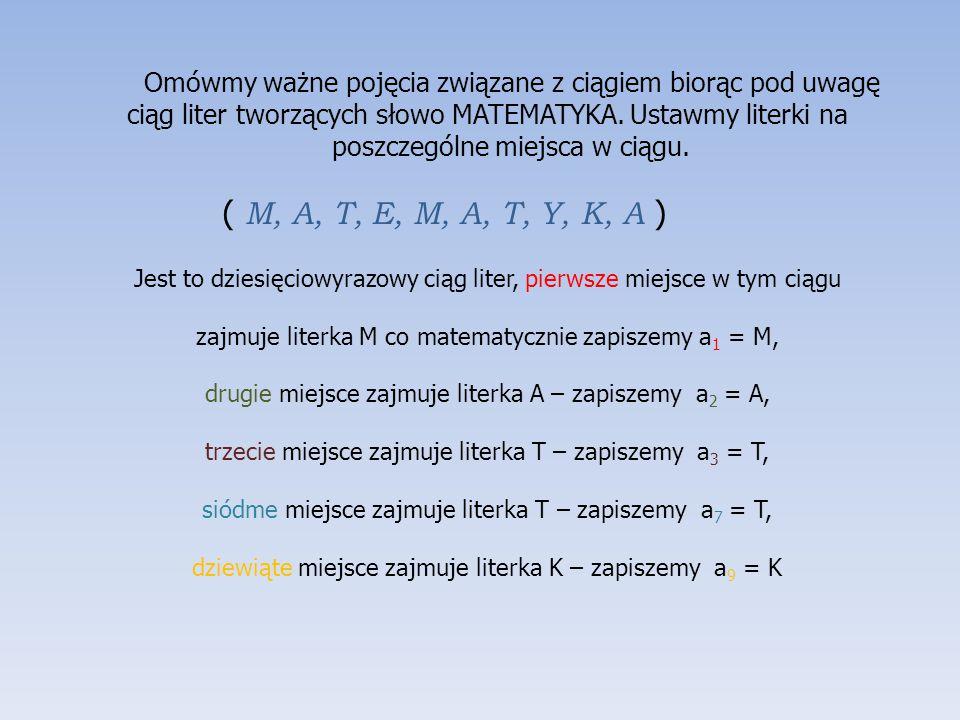 Omówmy ważne pojęcia związane z ciągiem biorąc pod uwagę ciąg liter tworzących słowo MATEMATYKA. Ustawmy literki na poszczególne miejsca w ciągu. ( M,