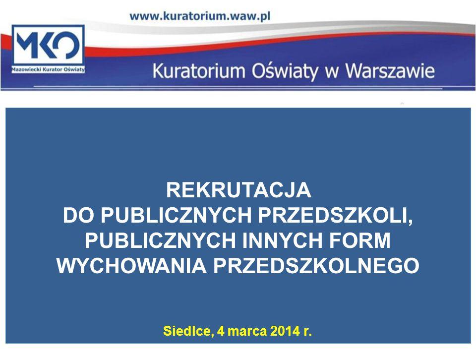 REKRUTACJA DO PUBLICZNYCH PRZEDSZKOLI, PUBLICZNYCH INNYCH FORM WYCHOWANIA PRZEDSZKOLNEGO Siedlce, 4 marca 2014 r.