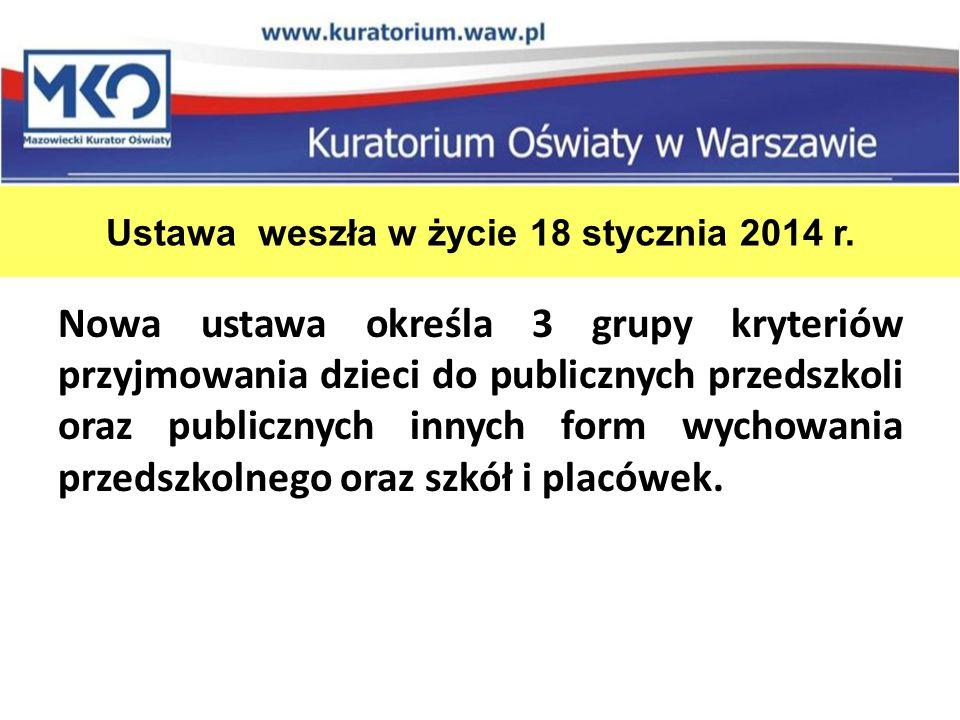 Ustawa weszła w życie 18 stycznia 2014 r.