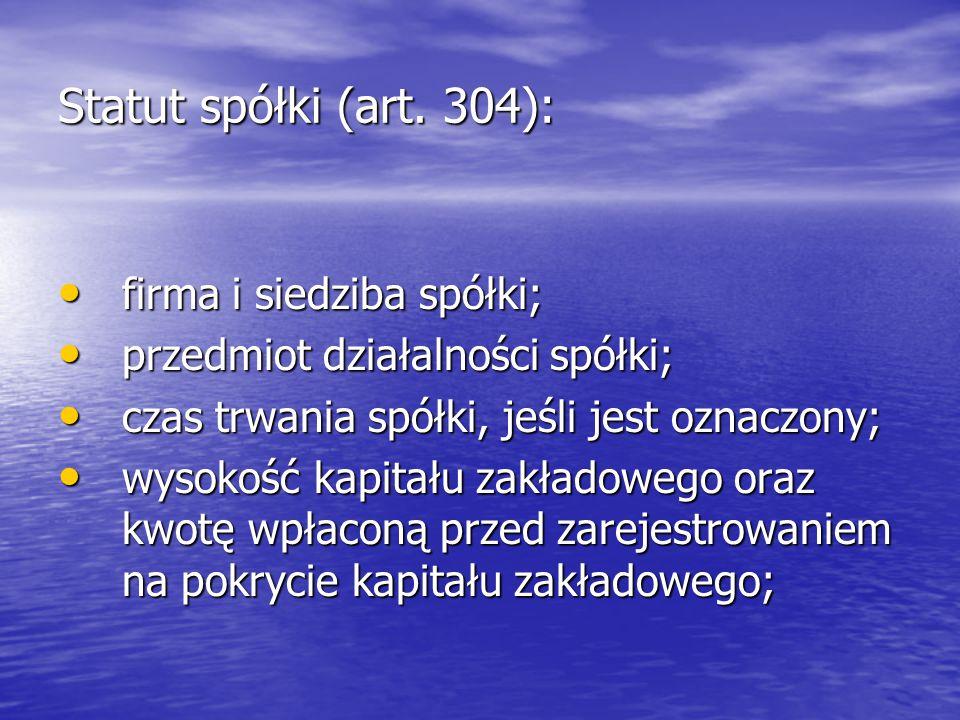 Statut spółki (art.