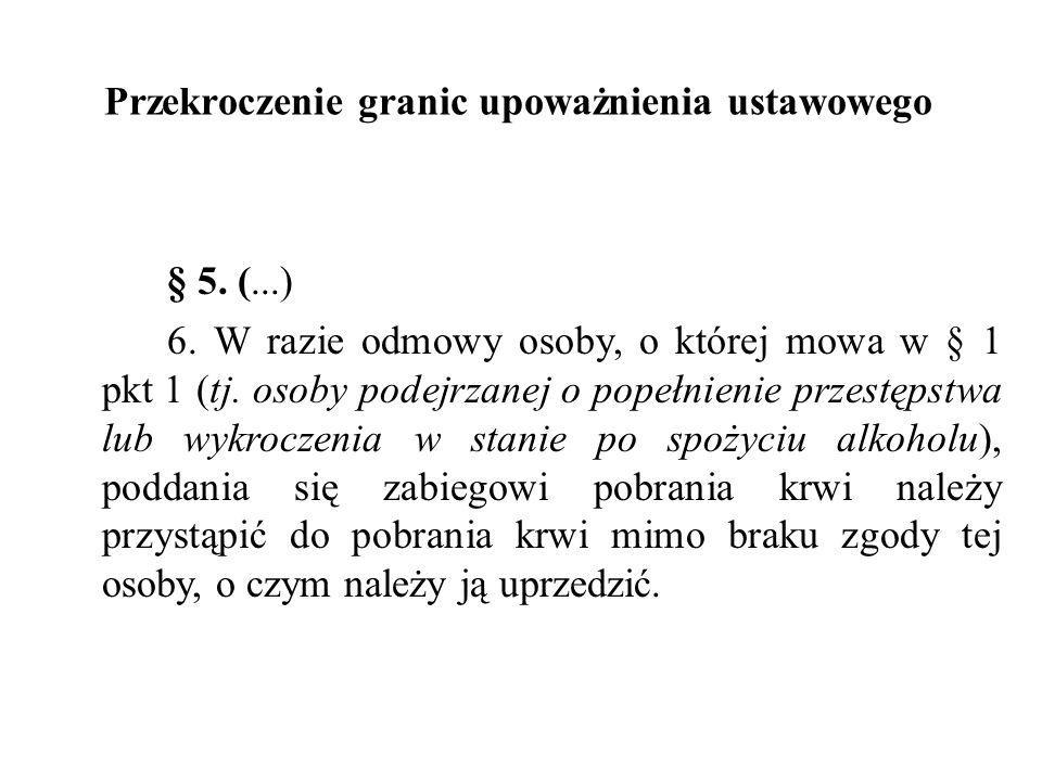 Przekroczenie granic upoważnienia ustawowego § 5. (...) 6. W razie odmowy osoby, o której mowa w § 1 pkt 1 (tj. osoby podejrzanej o popełnienie przest