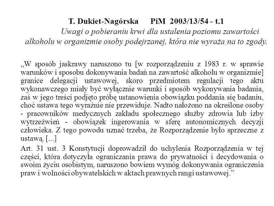 T. Dukiet-NagórskaPiM 2003/13/54 - t.1 Uwagi o pobieraniu krwi dla ustalenia poziomu zawartości alkoholu w organizmie osoby podejrzanej, która nie wyr