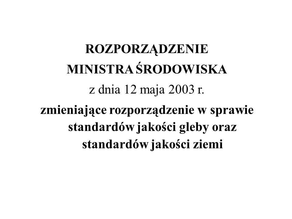 ROZPORZĄDZENIE MINISTRA ŚRODOWISKA z dnia 12 maja 2003 r. zmieniające rozporządzenie w sprawie standardów jakości gleby oraz standardów jakości ziemi