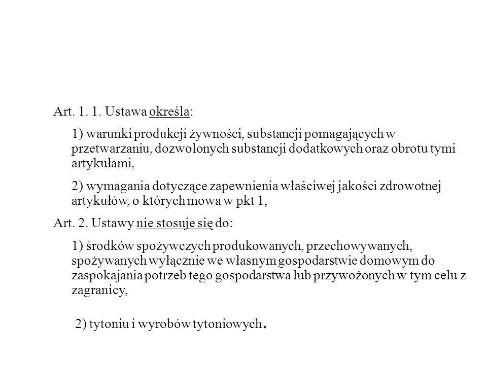 Art. 1. 1. Ustawa określa: 1) warunki produkcji żywności, substancji pomagających w przetwarzaniu, dozwolonych substancji dodatkowych oraz obrotu tymi