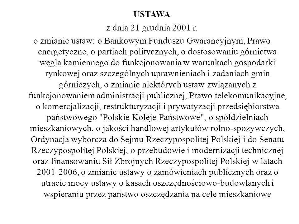 USTAWA z dnia 21 grudnia 2001 r. o zmianie ustaw: o Bankowym Funduszu Gwarancyjnym, Prawo energetyczne, o partiach politycznych, o dostosowaniu górnic