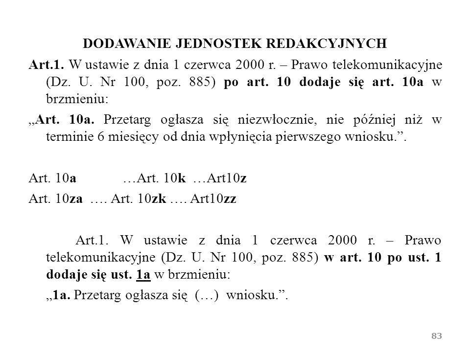 DODAWANIE JEDNOSTEK REDAKCYJNYCH Art.1. W ustawie z dnia 1 czerwca 2000 r. – Prawo telekomunikacyjne (Dz. U. Nr 100, poz. 885) po art. 10 dodaje się a