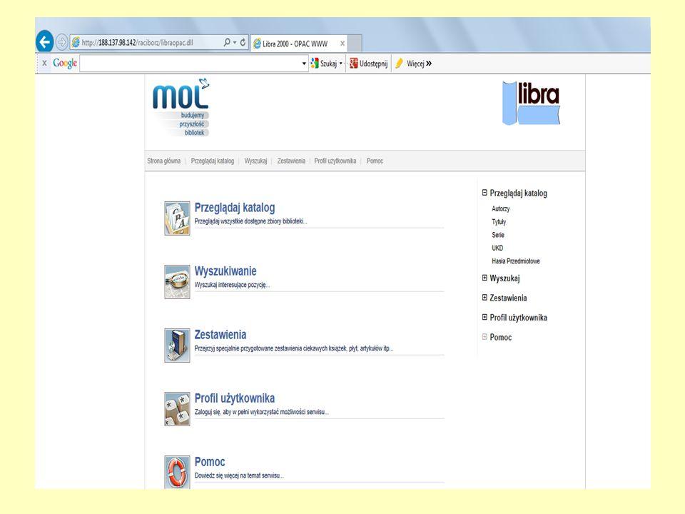 WYSZUKIWANIE PROSTE Jest to podstawowy sposób wyszukiwania informacji w katalogu biblioteki.