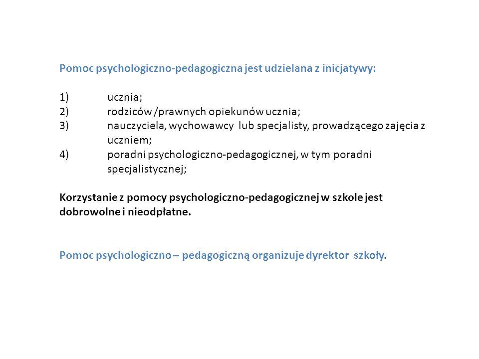 Pomoc psychologiczno-pedagogiczna jest udzielana z inicjatywy: 1)ucznia; 2)rodziców /prawnych opiekunów ucznia; 3)nauczyciela, wychowawcy lub specjali