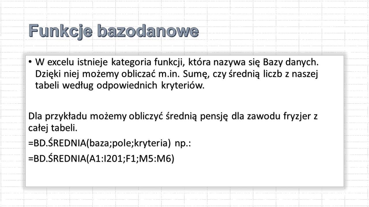 W excelu istnieje kategoria funkcji, która nazywa się Bazy danych.