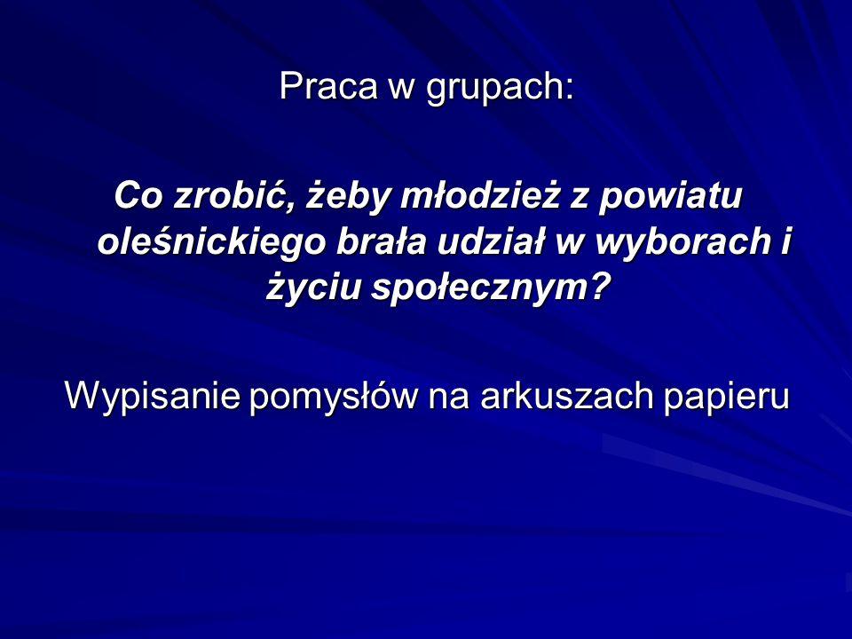 Praca w grupach: Co zrobić, żeby młodzież z powiatu oleśnickiego brała udział w wyborach i życiu społecznym.