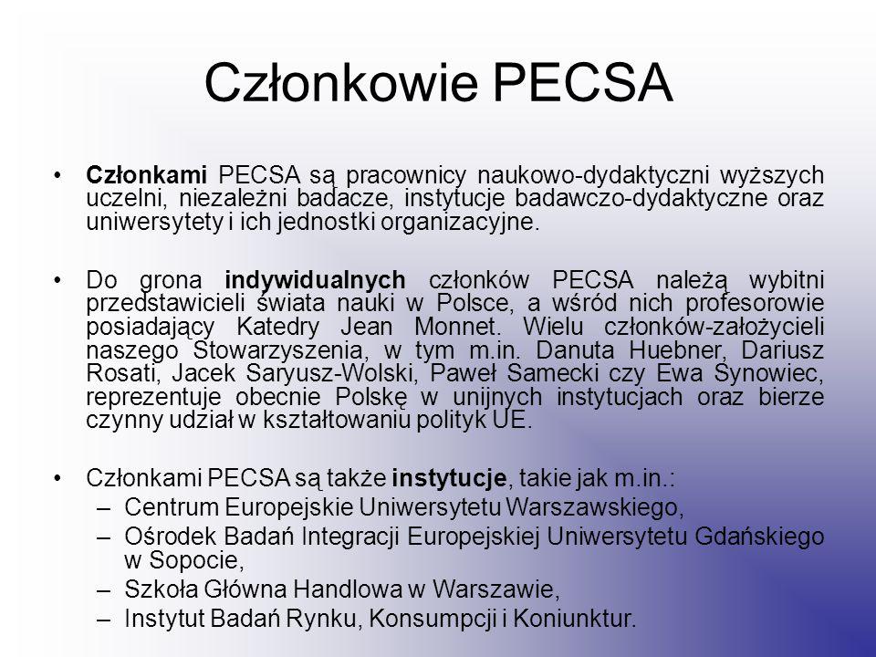 Członkowie PECSA Członkami PECSA są pracownicy naukowo-dydaktyczni wyższych uczelni, niezależni badacze, instytucje badawczo-dydaktyczne oraz uniwersytety i ich jednostki organizacyjne.
