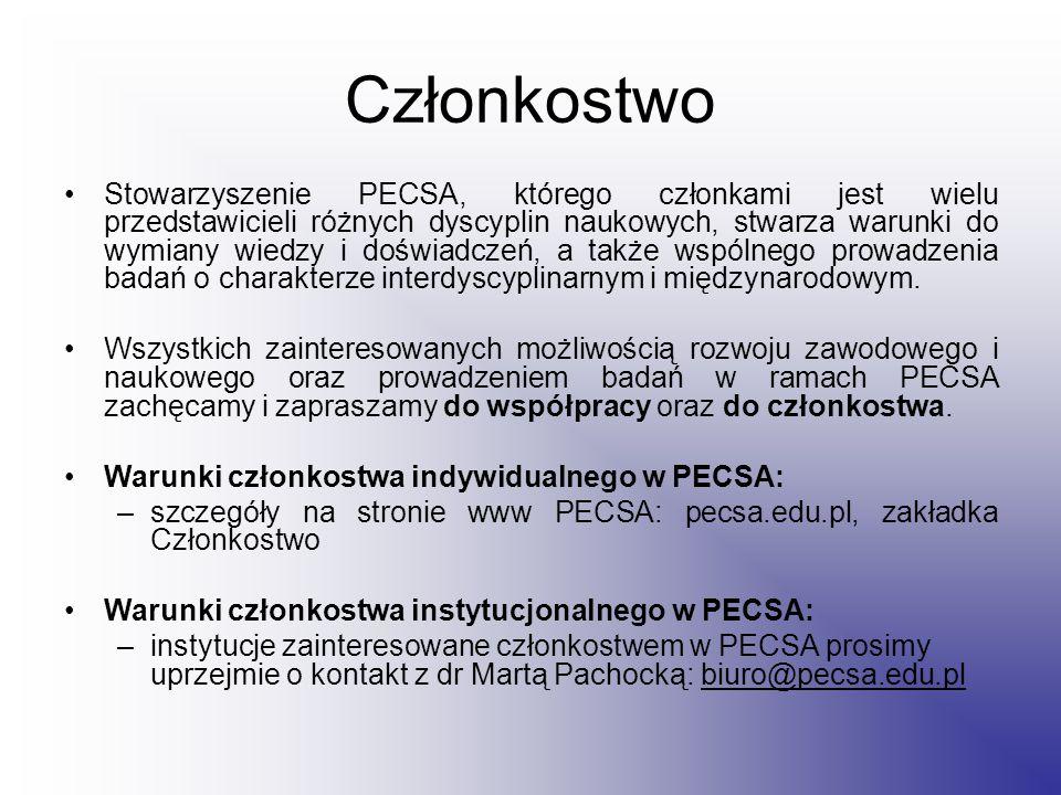 Członkostwo Stowarzyszenie PECSA, którego członkami jest wielu przedstawicieli różnych dyscyplin naukowych, stwarza warunki do wymiany wiedzy i doświadczeń, a także wspólnego prowadzenia badań o charakterze interdyscyplinarnym i międzynarodowym.