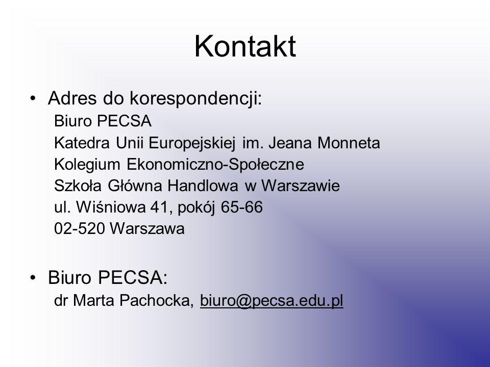 Kontakt Adres do korespondencji: Biuro PECSA Katedra Unii Europejskiej im.
