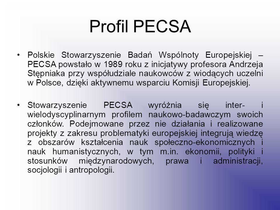 Profil PECSA Polskie Stowarzyszenie Badań Wspólnoty Europejskiej – PECSA powstało w 1989 roku z inicjatywy profesora Andrzeja Stępniaka przy współudziale naukowców z wiodących uczelni w Polsce, dzięki aktywnemu wsparciu Komisji Europejskiej.