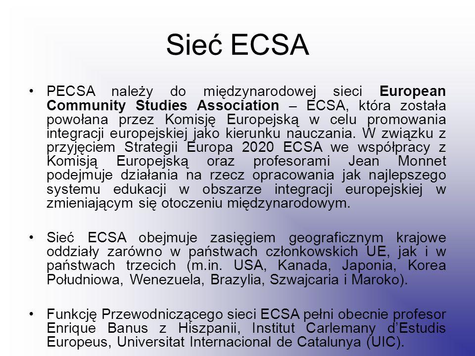 Sieć ECSA PECSA należy do międzynarodowej sieci European Community Studies Association – ECSA, która została powołana przez Komisję Europejską w celu promowania integracji europejskiej jako kierunku nauczania.