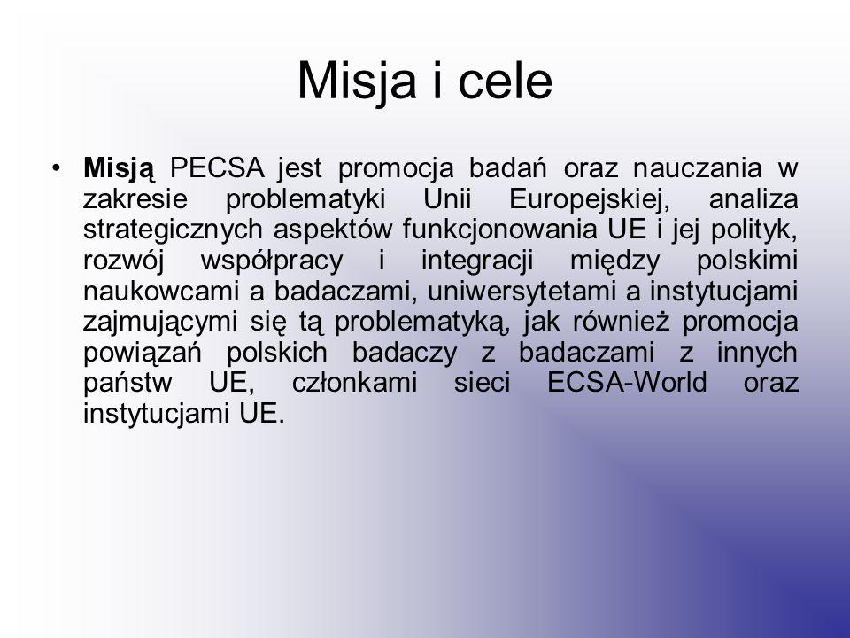 Misja i cele Misją PECSA jest promocja badań oraz nauczania w zakresie problematyki Unii Europejskiej, analiza strategicznych aspektów funkcjonowania UE i jej polityk, rozwój współpracy i integracji między polskimi naukowcami a badaczami, uniwersytetami a instytucjami zajmującymi się tą problematyką, jak również promocja powiązań polskich badaczy z badaczami z innych państw UE, członkami sieci ECSA-World oraz instytucjami UE.