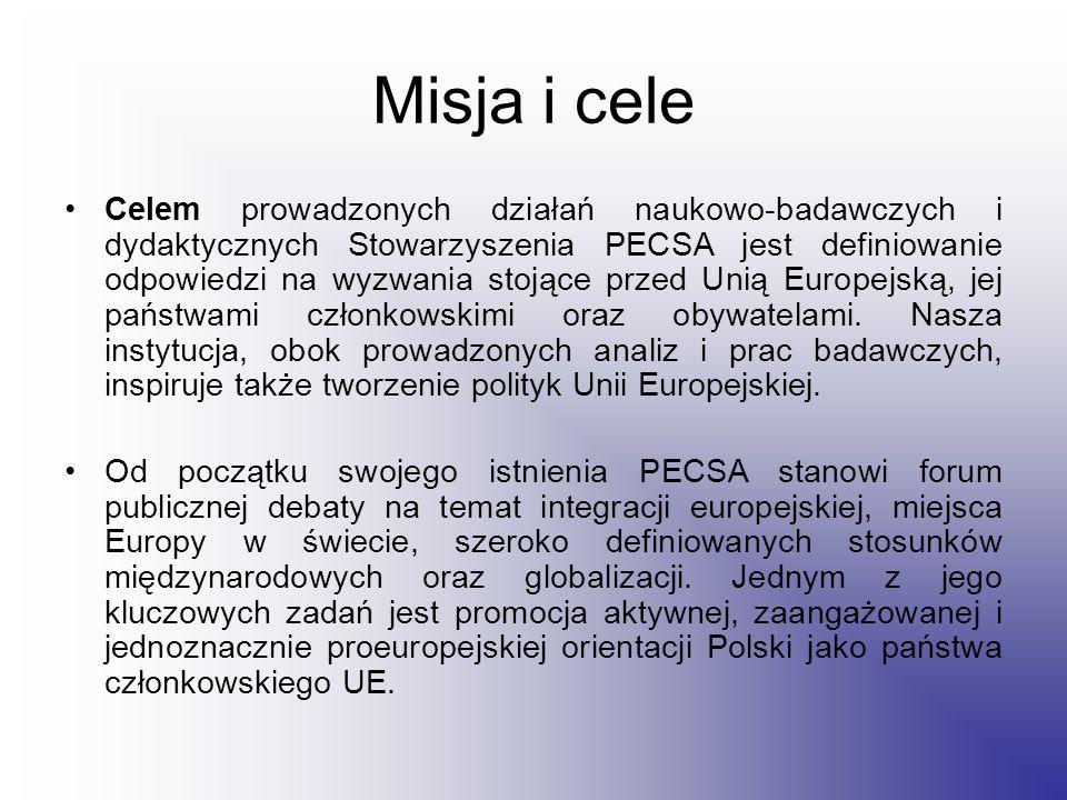 Misja i cele Celem prowadzonych działań naukowo-badawczych i dydaktycznych Stowarzyszenia PECSA jest definiowanie odpowiedzi na wyzwania stojące przed Unią Europejską, jej państwami członkowskimi oraz obywatelami.