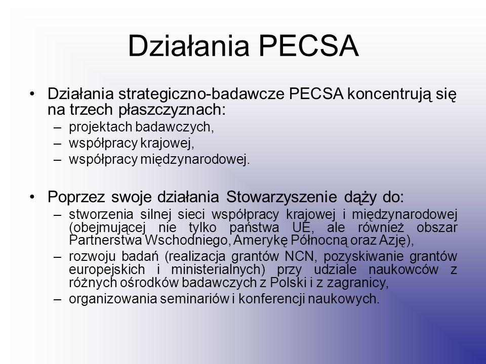 Działania PECSA Działania strategiczno-badawcze PECSA koncentrują się na trzech płaszczyznach: –projektach badawczych, –współpracy krajowej, –współpracy międzynarodowej.