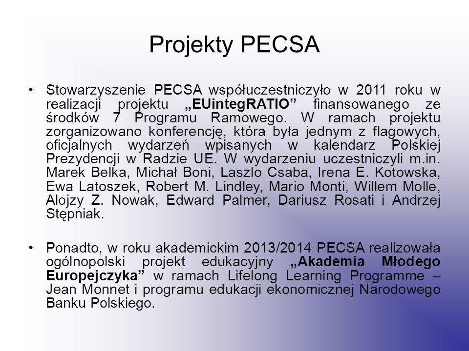 """Projekty PECSA Stowarzyszenie PECSA współuczestniczyło w 2011 roku w realizacji projektu """"EUintegRATIO finansowanego ze środków 7 Programu Ramowego."""