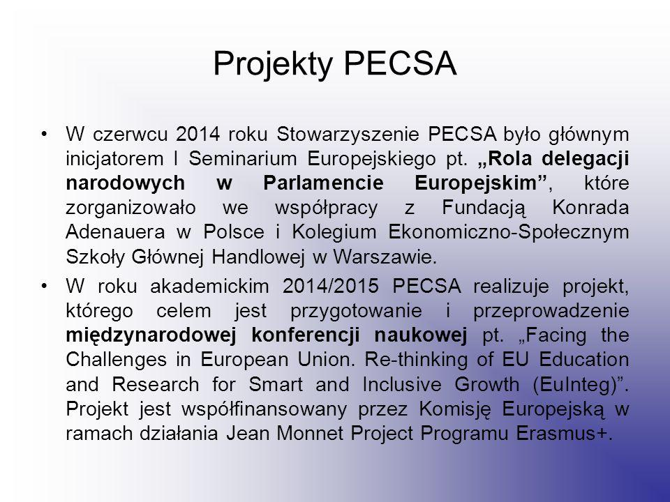Projekty PECSA W czerwcu 2014 roku Stowarzyszenie PECSA było głównym inicjatorem I Seminarium Europejskiego pt.