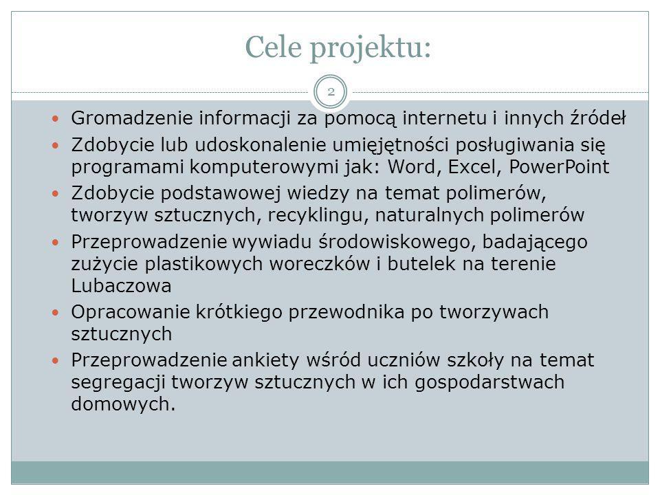Cele projektu: Gromadzenie informacji za pomocą internetu i innych źródeł Zdobycie lub udoskonalenie umięjętności posługiwania się programami komputer