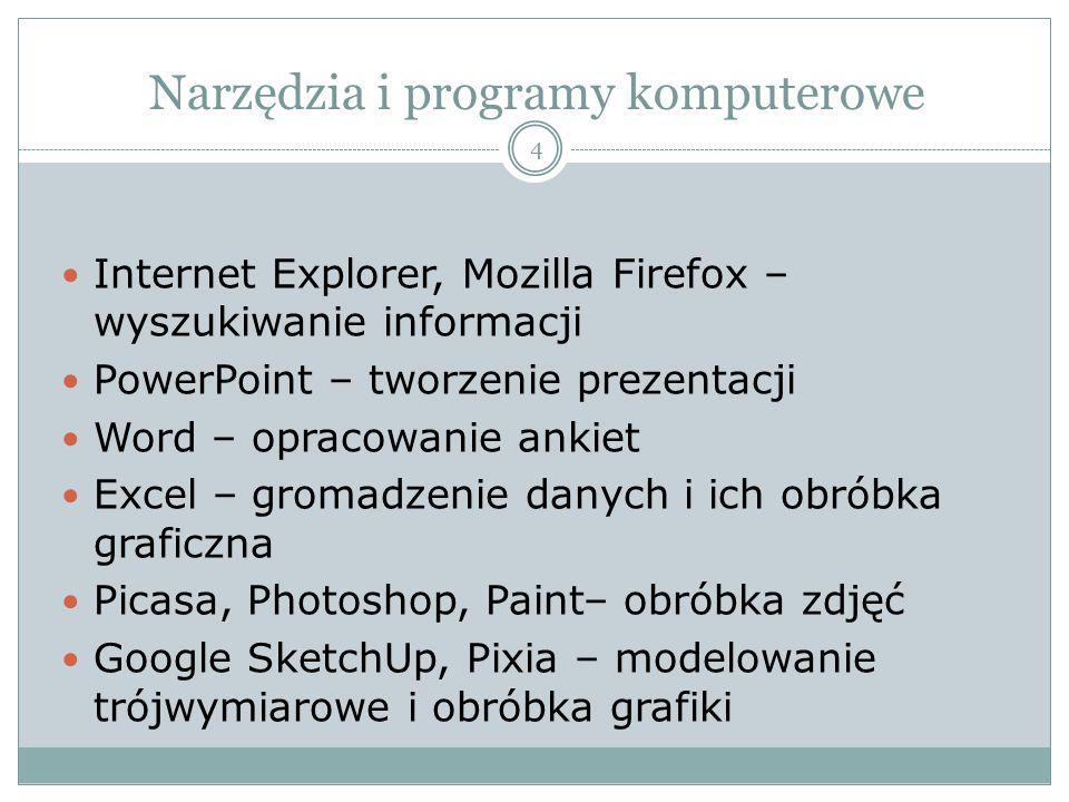 Narzędzia i programy komputerowe Internet Explorer, Mozilla Firefox – wyszukiwanie informacji PowerPoint – tworzenie prezentacji Word – opracowanie an