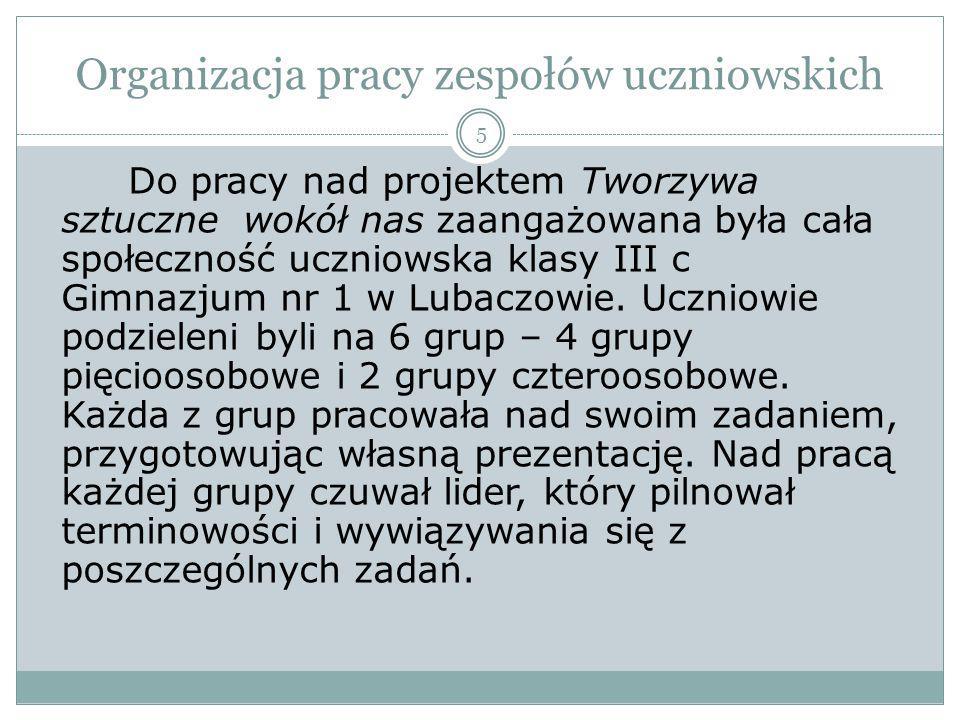 Organizacja pracy zespołów uczniowskich Gr.