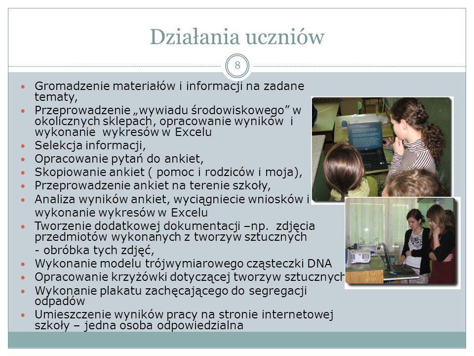 Rezultaty pracy uczniów 9 Sześć prezentacji zawierających m.in.
