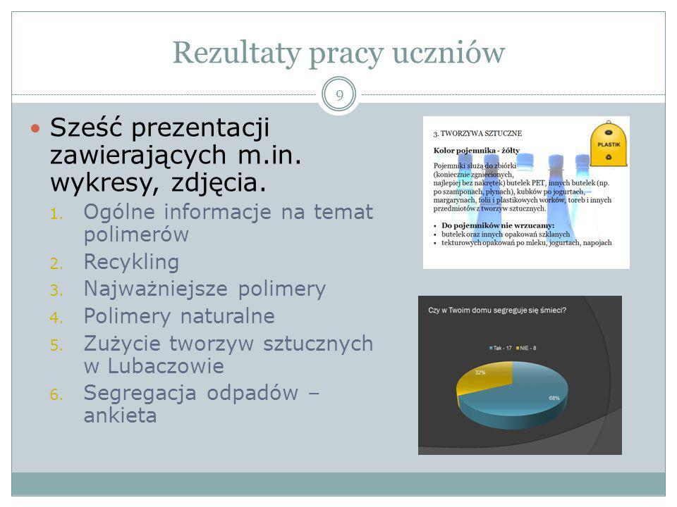 Rezultaty pracy uczniów 9 Sześć prezentacji zawierających m.in. wykresy, zdjęcia. 1. Ogólne informacje na temat polimerów 2. Recykling 3. Najważniejsz
