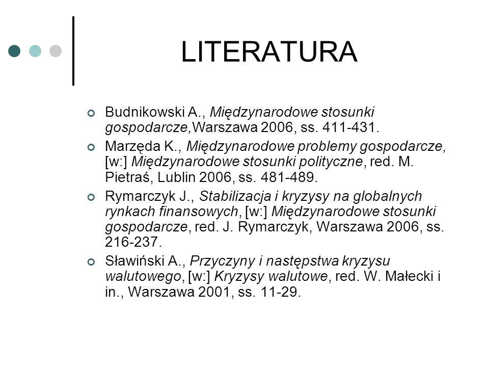 LITERATURA Budnikowski A., Międzynarodowe stosunki gospodarcze,Warszawa 2006, ss. 411-431. Marzęda K., Międzynarodowe problemy gospodarcze, [w:] Międz