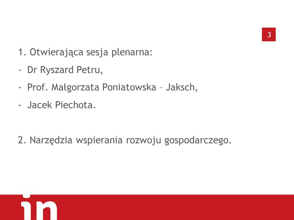 3 1.Otwierająca sesja plenarna: -Dr Ryszard Petru, -Prof.
