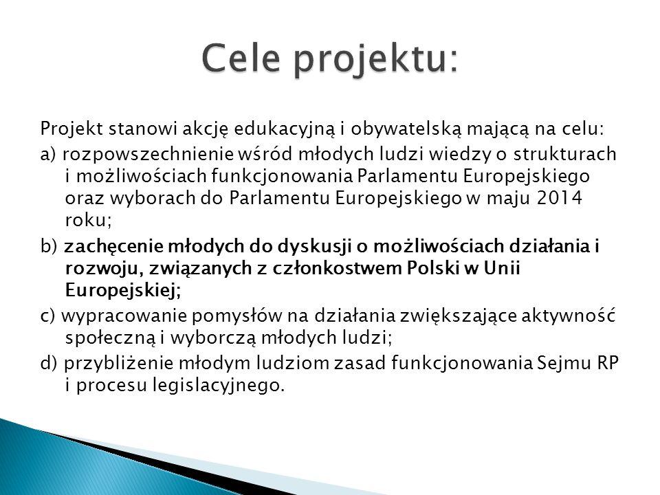 Projekt stanowi akcję edukacyjną i obywatelską mającą na celu: a) rozpowszechnienie wśród młodych ludzi wiedzy o strukturach i możliwościach funkcjonowania Parlamentu Europejskiego oraz wyborach do Parlamentu Europejskiego w maju 2014 roku; b) zachęcenie młodych do dyskusji o możliwościach działania i rozwoju, związanych z członkostwem Polski w Unii Europejskiej; c) wypracowanie pomysłów na działania zwiększające aktywność społeczną i wyborczą młodych ludzi; d) przybliżenie młodym ludziom zasad funkcjonowania Sejmu RP i procesu legislacyjnego.