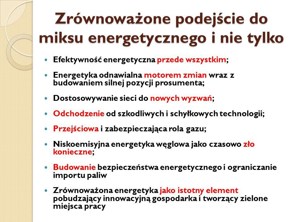 Zrównoważone podejście do miksu energetycznego i nie tylko Efektywność energetyczna przede wszystkim; Energetyka odnawialna motorem zmian wraz z budowaniem silnej pozycji prosumenta; Dostosowywanie sieci do nowych wyzwań; Odchodzenie od szkodliwych i schyłkowych technologii; Przejściowa i zabezpieczająca rola gazu; Niskoemisyjna energetyka węglowa jako czasowo zło konieczne; Budowanie bezpieczeństwa energetycznego i ograniczanie importu paliw Zrównoważona energetyka jako istotny element pobudzający innowacyjną gospodarka i tworzący zielone miejsca pracy