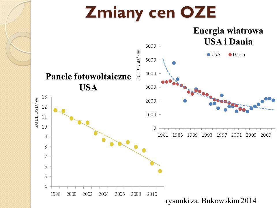 Zmiany cen OZE Panele fotowoltaiczne USA Energia wiatrowa USA i Dania rysunki za: Bukowskim 2014