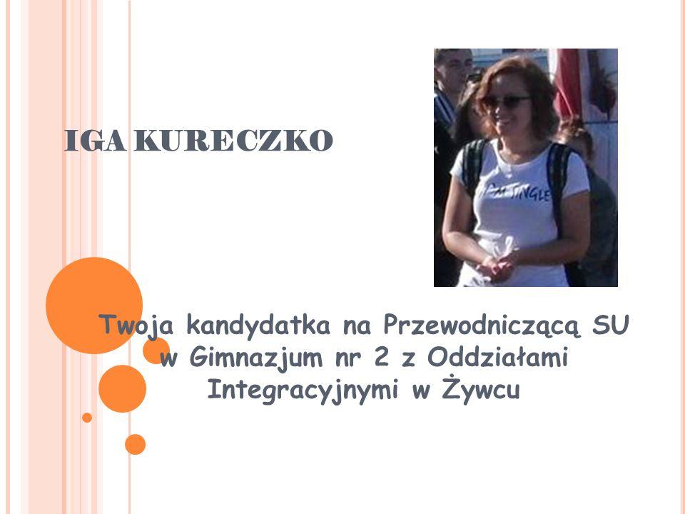 IGA KURECZKO Twoja kandydatka na Przewodniczącą SU w Gimnazjum nr 2 z Oddziałami Integracyjnymi w Żywcu
