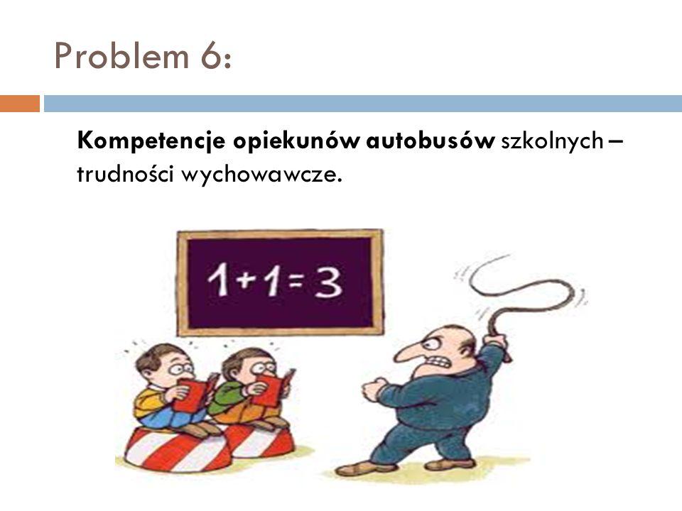 Problem 6: Kompetencje opiekunów autobusów szkolnych – trudności wychowawcze.