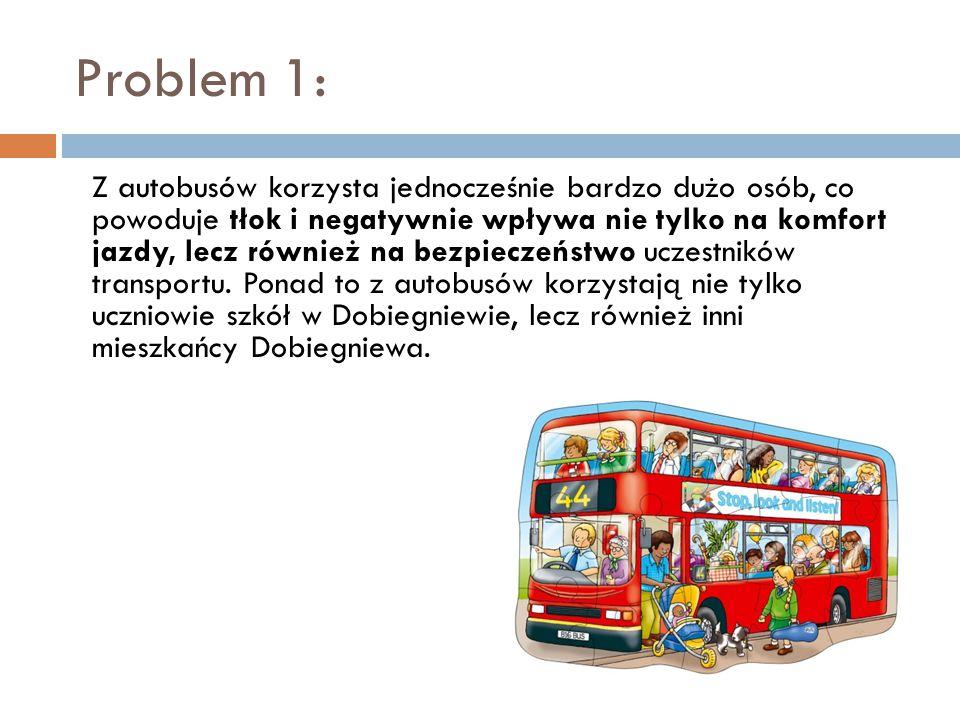 Problem 1: Z autobusów korzysta jednocześnie bardzo dużo osób, co powoduje tłok i negatywnie wpływa nie tylko na komfort jazdy, lecz również na bezpieczeństwo uczestników transportu.