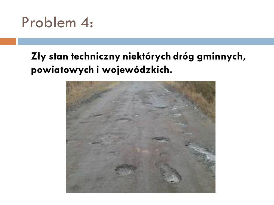 Problem 4: Zły stan techniczny niektórych dróg gminnych, powiatowych i wojewódzkich.