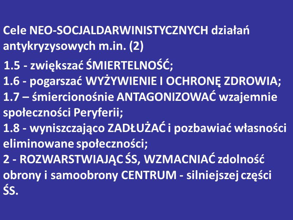 Cele NEO-SOCJALDARWINISTYCZNYCH działań antykryzysowych m.in. (2) 1.5 - zwiększać ŚMIERTELNOŚĆ; 1.6 - pogarszać WYŻYWIENIE I OCHRONĘ ZDROWIA; 1.7 – śm